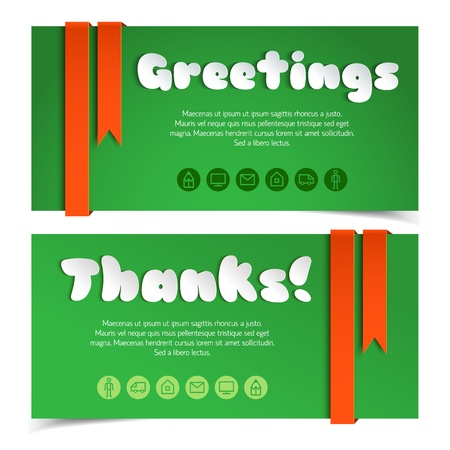 Greetings cards in paper style Illustration,  contains transparencies  Stock Vector - 19316474