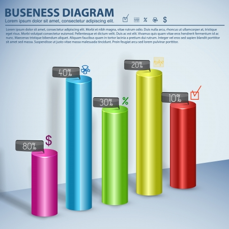 Business diagram template with text fields  Vector Illustration, eps10, contains transparencies  Vector