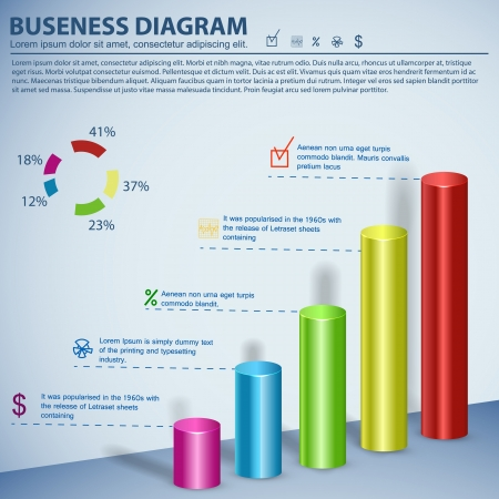 Business diagram template with text fields  Illustration, eps10, contains transparencies  Vector