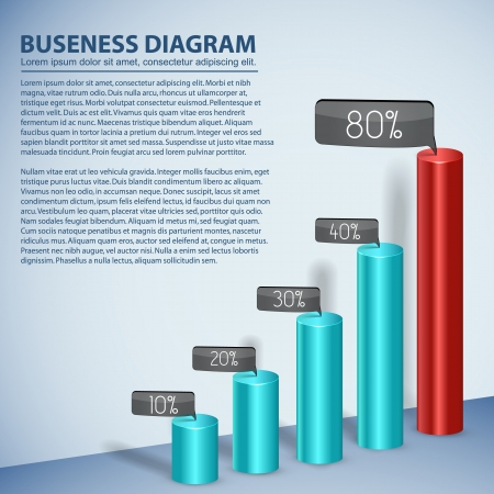 pie diagrams: Business diagram template with text fields  Illustration, eps10, contains transparencies