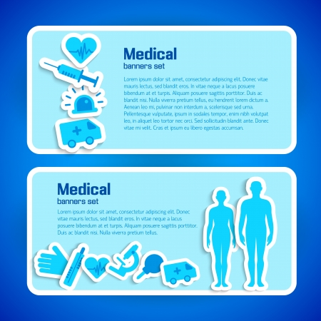 Medical concept banners set  Illustration,  contains transparencies  Vector