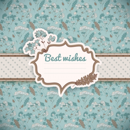 turquoise swirl: Vintage flowers background  Greetings card   Illustration, contains transparencies  Illustration