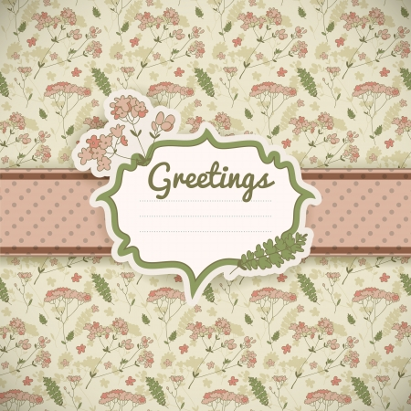 Vintage flowers background  Greetings card   Illustration, , contains transparencies  Vector