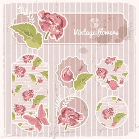 Vintage flowers banners set  Vector Illustration, eps10, contains transparencies  Vector