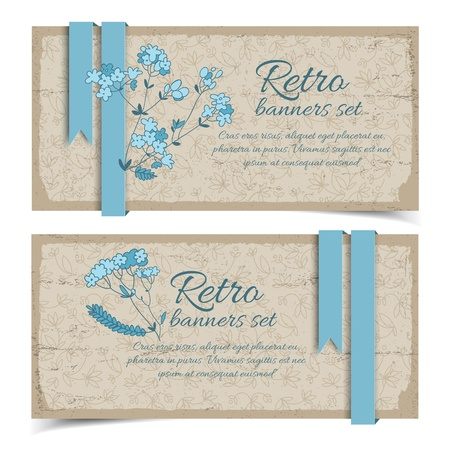 Vintage flowers banners set with text field Illustration,  contains transparencies  Vector