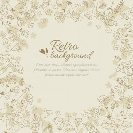 Vintage flowers background with text field  Vector Illustration, eps10, contains transparencies  Vector