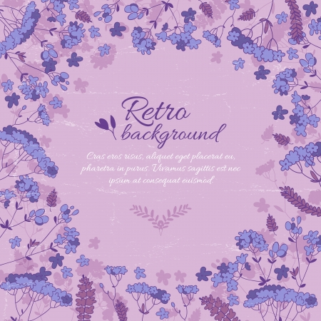 Vintage flowers background with text field  Illustration, contains transparencies  Vector