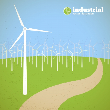clean energy: Clean energy concept with wind generators Illustration, contains transparencies