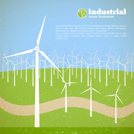 Clean energy concept with wind generators  Vector Illustration, eps10, contains transparencies  Stock Vector - 20338242