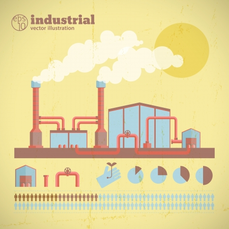 catalyst: Factory pipes with smoke  Vector Illustration, eps10, contains transparencies  Illustration