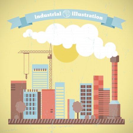 Factory pipes with smoke  Vector Illustration, eps10, contains transparencies  Illustration