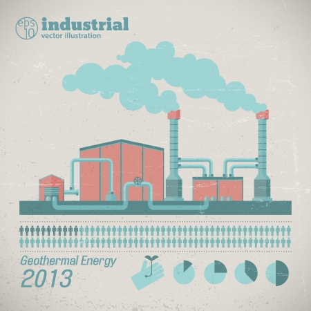 Factory pipes with smoke  Vector Illustration, eps10, contains transparencies  Vector