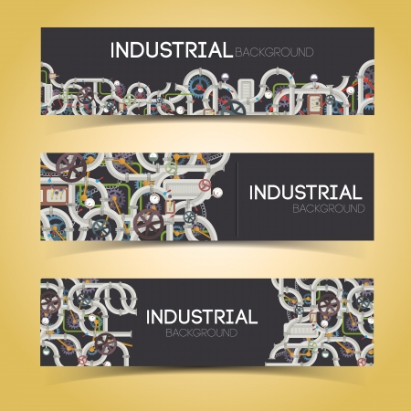 Industrial banners with text fields. Illustration and contains transparencies. Vector