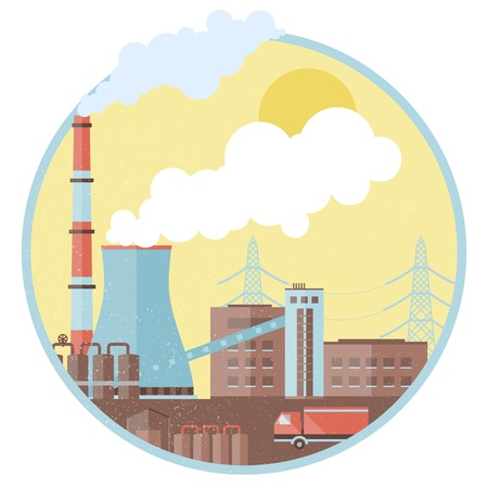 environmen: Factory pipes with smoke. Illustration and contains transparencies.