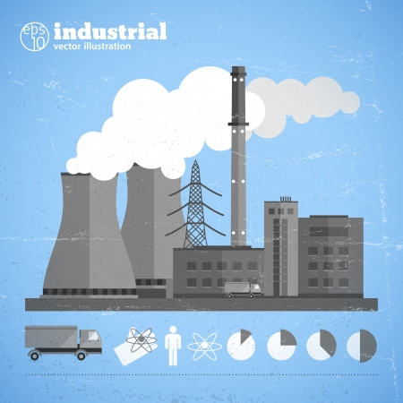 Factory pipes with smoke. Illustration and contains transparencies. Vector