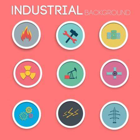 industrial icon: Industrial icon set. Flat style. Illustration and contains transparencies. Illustration