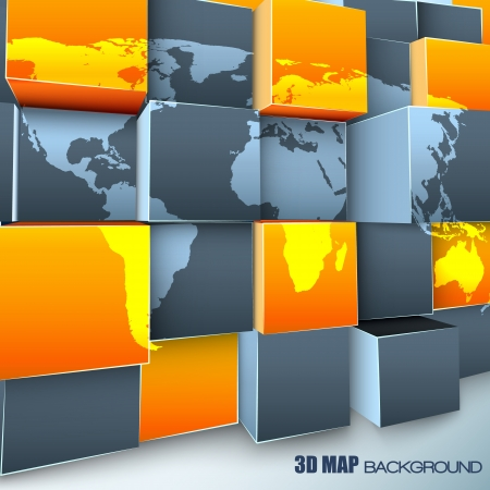 3d abstract background with world map. Illustration and contains transparencies. Vector