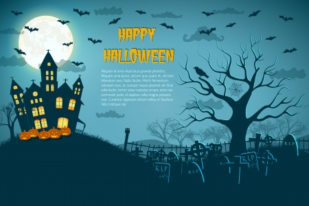 traditional house: Halloween Party Background Illustration Illustration