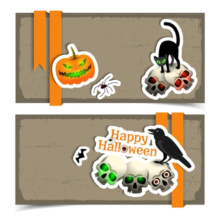 Halloween banners set Illustration Vector