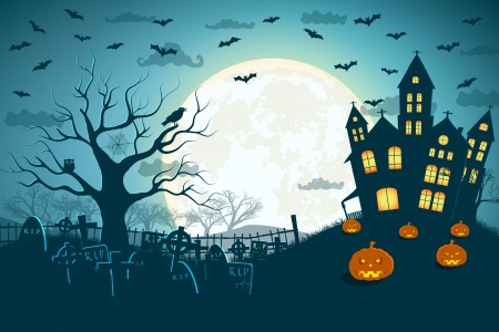 luna caricatura: Fiesta de Halloween ilustraci�n de fondo