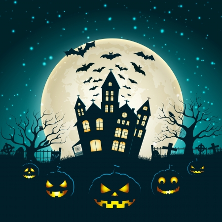 haunted house: Halloween Party Background Illustration Illustration