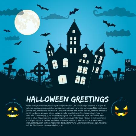 жуткий: Halloween Party фон иллюстрация