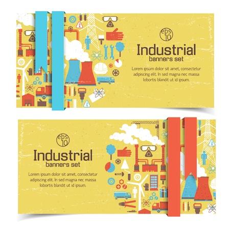 ingenieria industrial: Banners industriales establecen Ilustraci�n Vectores