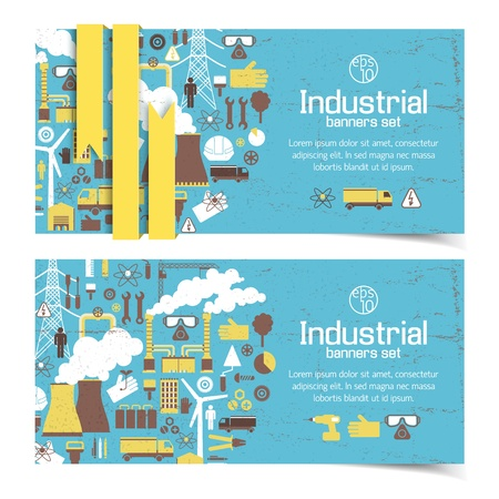 grid: Industrial banners set Illustration Illustration