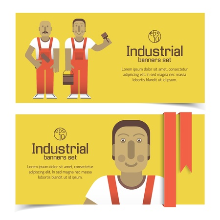 Industrial banners set with workman Illustration Vector