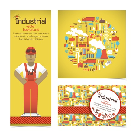 Industrial banners set with workman Illustration illustration