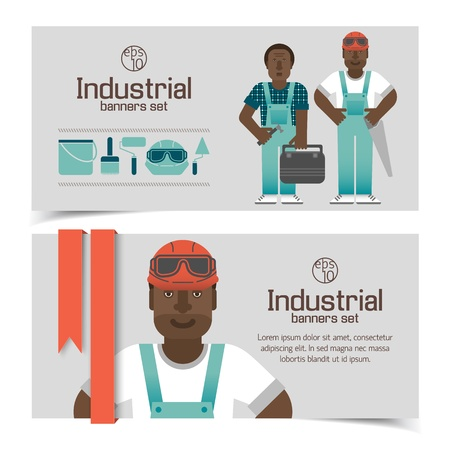 Industrial banners set with workman Illustration Stock Illustration - 20641309