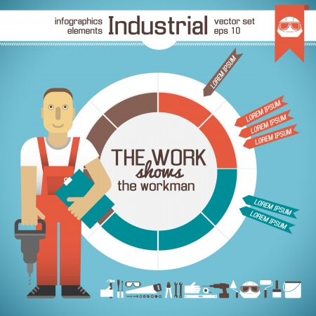 Industrial background with workman Illustration Stock Illustration - 20641498