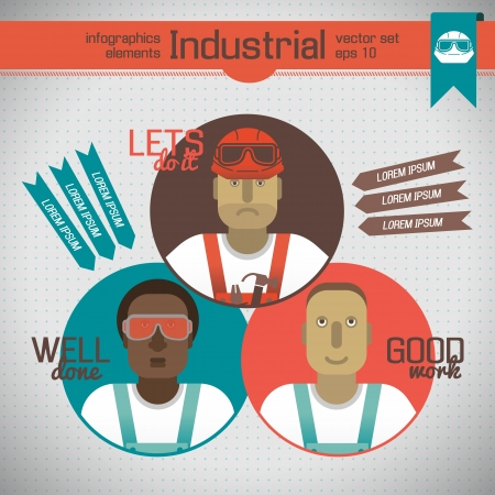 Industrial background with workman Illustration illustration