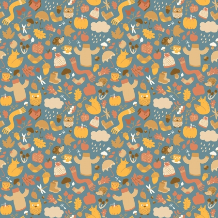 Autumn seamless pattern  Doodle style  Vector Illustration,  contains transparencies  Vector