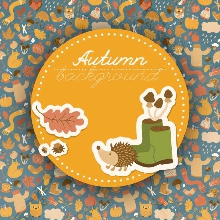Autumn background. Doodle style. Doodle style. Vector Illustration, contains transparencies. Vector