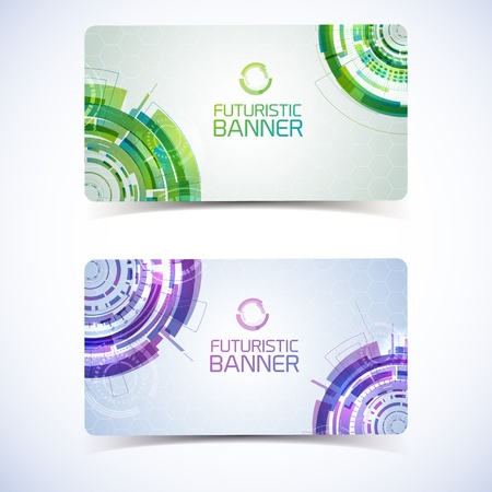 Modern virtual technology banners set. Vector Illustration,  contains transparencies. Vector