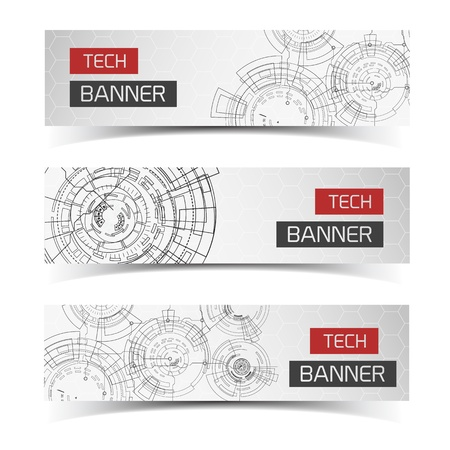 Modern virtual technology banners set. Vector Illustration, eps10, contains transparencies. Vector