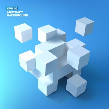 abstract 3d blocks: Abstract cubes. Background.