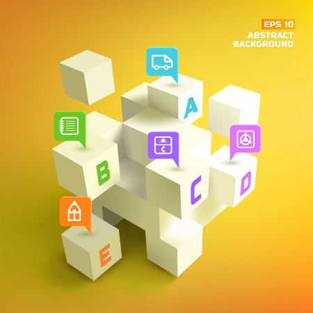 Abstract cubes. Background.  Vector