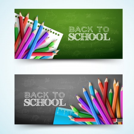 school icon: Back to school banners set. Vector Illustration, eps10, contains transparencies.