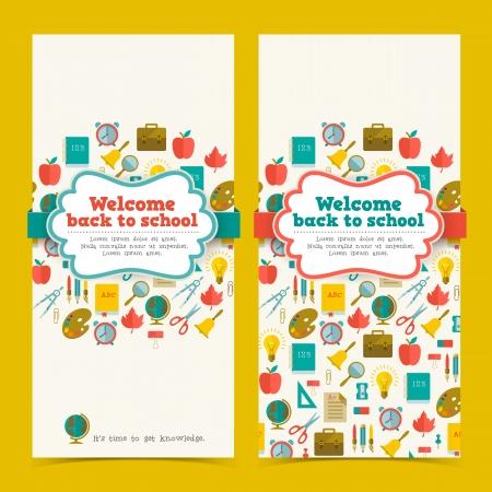 espada: Volver a la escuela banderas establecido. Ilustraci�n vectorial, eps10, contiene las transparencias. Vectores