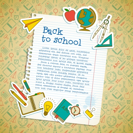 back icon: Back to school background. Vector Illustration, eps10, contains transparencies. Illustration