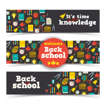 back icon: Back to school banners set. Vector Illustration, eps10, contains transparencies.