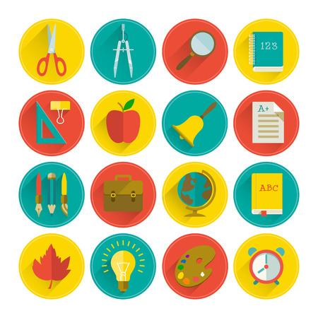 school teachers: Icono de la escuela fijado. Ilustraci�n vectorial, eps10, contiene las transparencias. Vectores