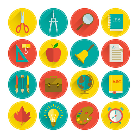 school icons: School icon set. Vector Illustration, eps10, contains transparencies.