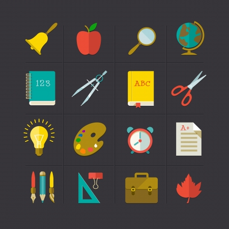 School icon set. Vector Illustration, eps10, contains transparencies. Vector