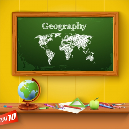 Drawing world map on the classroom blackboard. Vector Illustration, eps10, contains transparencies. Vector
