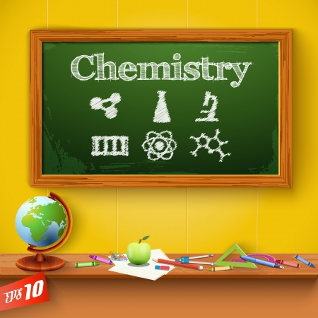 green chalkboard: Green chalkboard. Chemistry. Vector Illustration, eps10, contains transparencies.