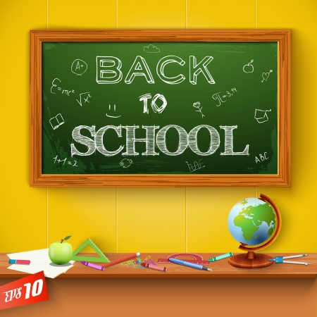 green chalkboard: Green chalkboard. Back to school. Vector Illustration, eps10, contains transparencies.
