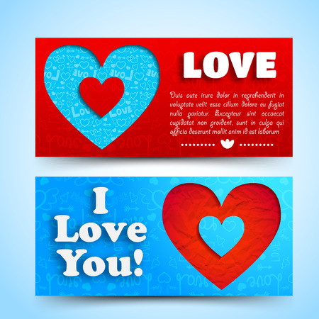 Valentine`s day banners set. Design concept. Vector Illustration, eps10, contains transparencies. illustration